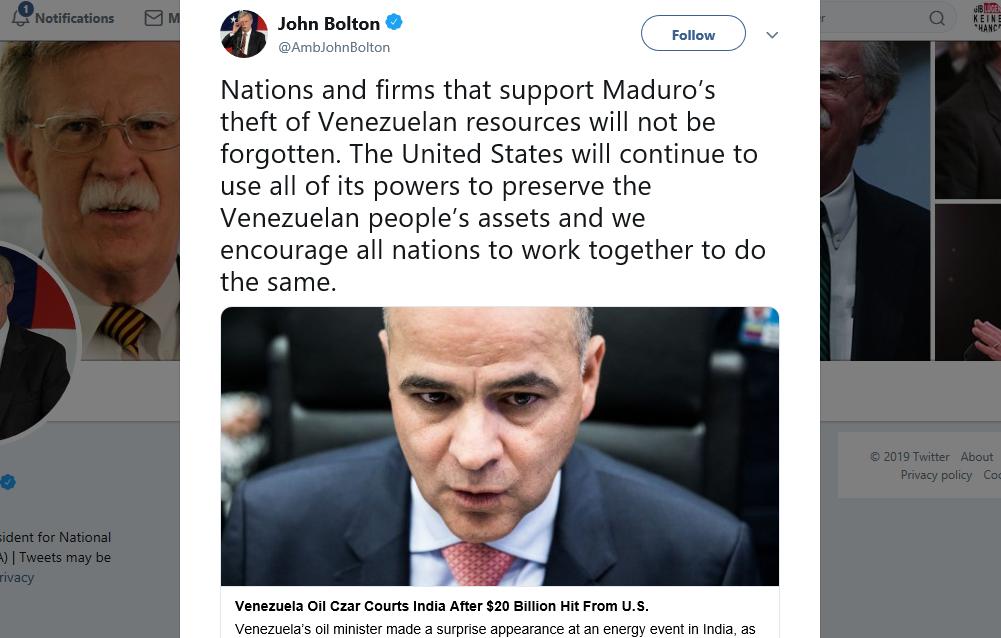 Indien will Öl aus Venezuela kaufen – Bolton droht mit Sanktionen