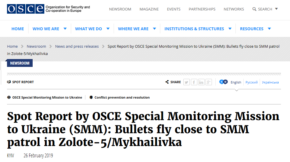 OSZE-Beobachter sind in der Ukraine von ukrainischer Armee beschossen worden