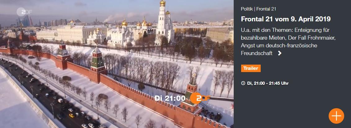 """Heutige """"Frontal 21"""" Sendung über russischen Einfluss auf deutsche Politik basiert auf gefälschten Quellen"""