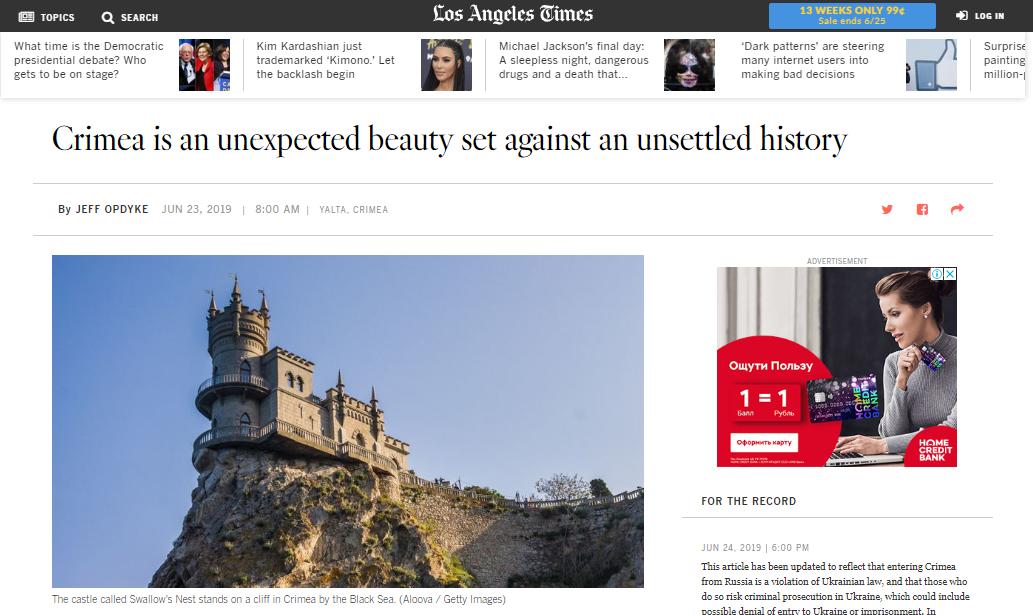 Kurioser Reisetipp: Los Angeles Times empfiehlt ihren Lesern Reisen auf die Krim