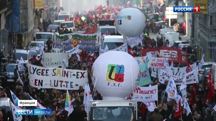 Wie das russische Fernsehen über den Generalstreik in Frankreich berichtet
