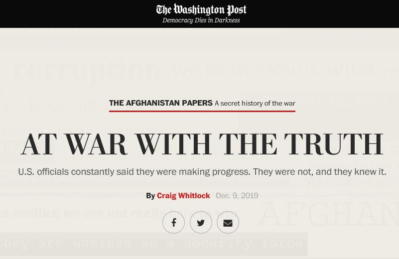 """Enthüllungen in den USA zum Afghanistan-Krieg: """"Im Krieg mit der Wahrheit"""""""