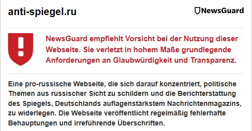 Wenig überraschend: Newsguard warnt vor dem Anti-Spiegel