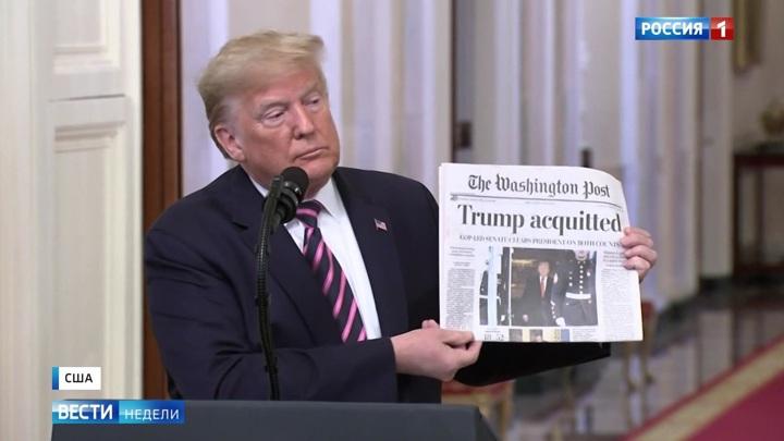 Wie das russische Fernsehen über das Ende des Amtsenthebungsverfahrens gegen Trump berichtet