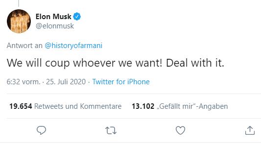 Verplappert oder schlechter Witz? Elon Musk gesteht Beteiligung an Putsch in Bolivien ein