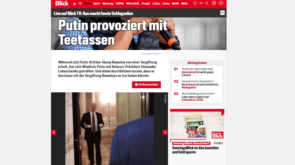 """Neuer Tiefpunkt der Propaganda im Fall Navalny: Schweizer """"Blick"""" lügt mit falschem Putin-Foto"""