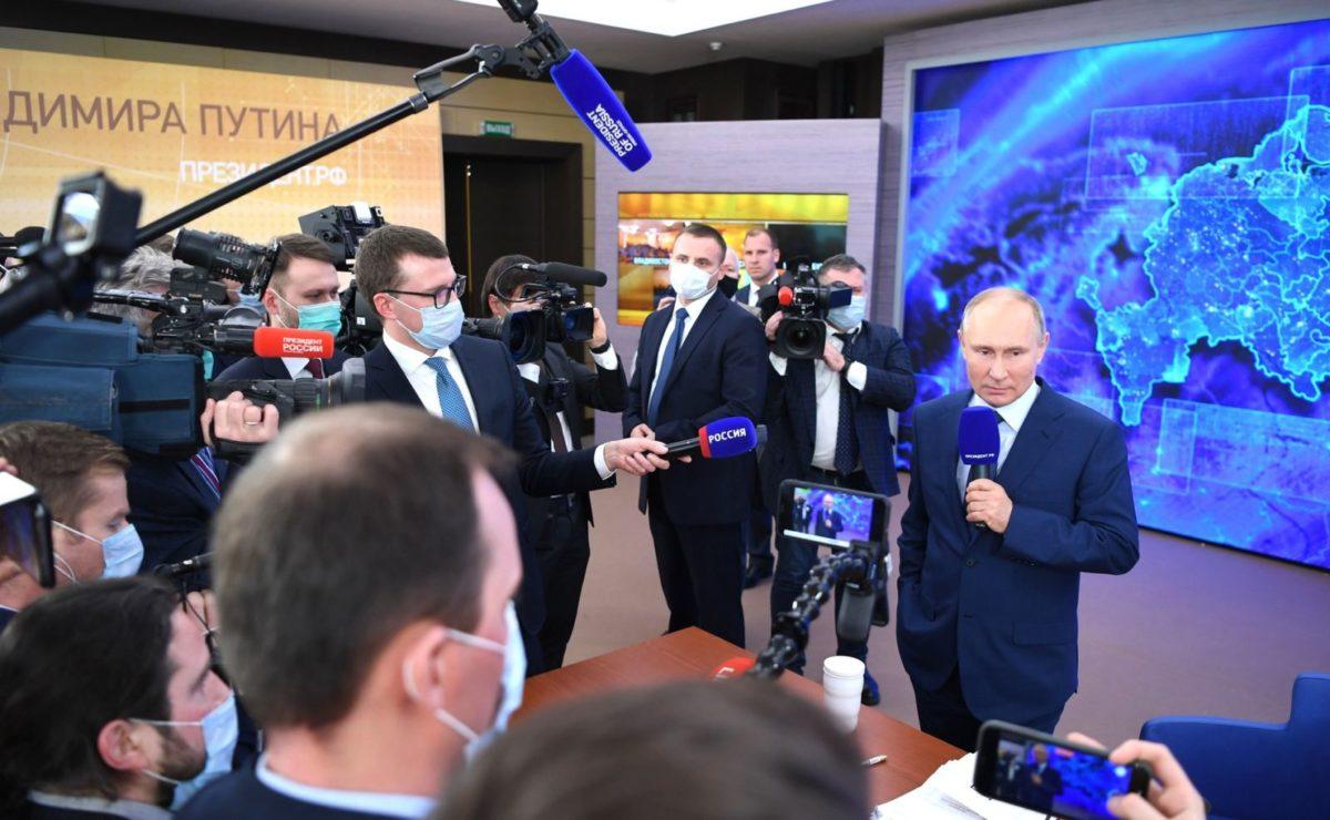 Jahrespressekonferenz: Putin über einen russischen Lockdown und den Umgang mit Impfgegnern